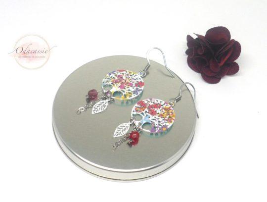Boucles d'oreilles abres de vie multicolores au choix fines estampes perles acier inoxydable par Odacassie