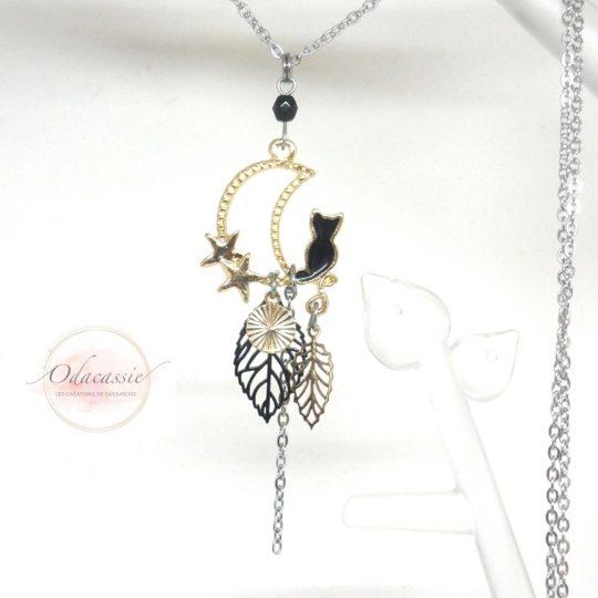 Sautoir chat et étoiles lune feuilles sequin perle doré noir attrape-rêves acier inoxydable par Odacassie