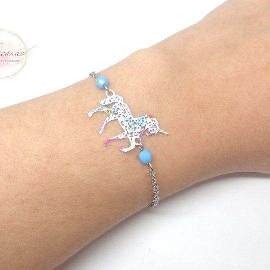 Bracelet licorne à composer choix du connecteur et des perles taille enfant ou adulte acier inoxydable par Odacassie